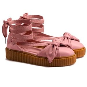 Fenty X Puma Pink Leather Bow Sneaker